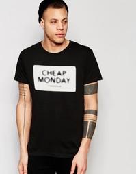 Черная футболка с принтом логотипа Cheap Monday - Черная луна