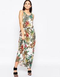 Платье макси с завязкой на талии и ботаническим принтом Club L