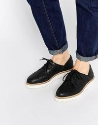 Кожаные туфли на плоской подошве ASOS MATCHED UP - Черный