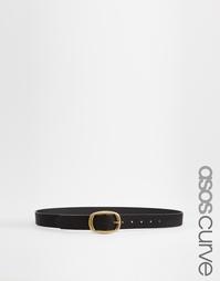 Ремень для джинсов с прямоугольной пряжкой ASOS CURVE - Черный