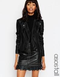Байкерская куртка с окантовкой ASOS TALL Ultimate - Черный
