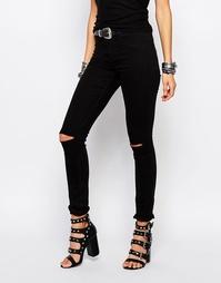 Зауженные джинсы с высокой талией Noisy May Devil - Черный