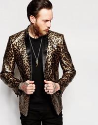 Приталенный пиджак с леопардовым принтом ASOS - Золотой