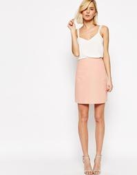 Льняная юбка-трапеция с карманом ASOS - Телесный