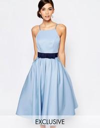 Платье миди с пышной юбкой и высокой горловиной Chi Chi London