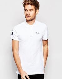 Белое поло из ткани пике с вышитым логотипом Blend - Белый