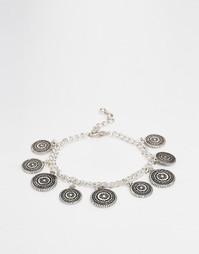 Браслет с подвесками-монетами ASOS - Шлифованный серебряный