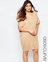 Свободное платье-джемпер миди с V-образным вырезом ASOS CURVE - Кэмел