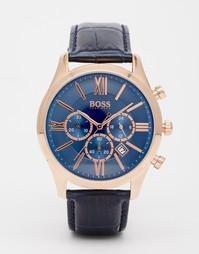 Часы с синим кожаным ремешком Hugo Boss 1513320 - Синий