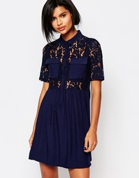 Короткое приталенное платье с кружевным лифом Vero Moda - Черный ирис