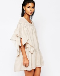 Свободное платье с кружевом Moon River - Светлый персиковый