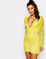 Кружевное платье мини с V‑образным вырезом Love - Желтый