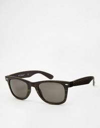 Квадратные солнцезащитные очки в серой деревянной оправе AJ Morgan