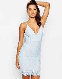 Кружевное платье мини с треугольными чашечками Love - Бледно-синий