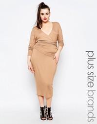 Платье-футляр c запахом спереди Missguided Plus - Телесный