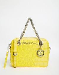 Желтая сумка через плечо с теснением под крокодилову кожу Versace Jean