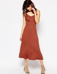 Платье миди на бретельках в рубчик ASOS - Красный
