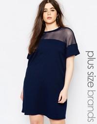 Платье-футболка с сетчатой вставкой Missguided Plus - Темно-синий