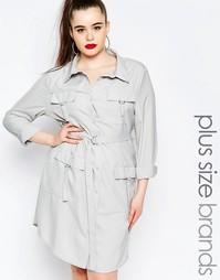 Платье-рубашка с длинными рукавами и карманом Missguided Plus - Серый