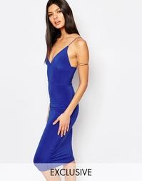 Платье миди на тонких бретельках Club L - Кобальтовый