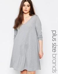 Свободное платье размера плюс с V‑образным вырезом Missguided - Серый