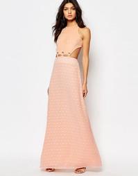 Платье макси с вырезом и шнуровкой Foxiedox Lucilla - Nude pink