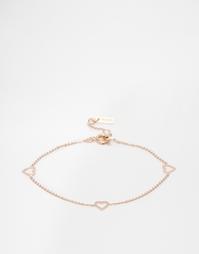 Золотисто-розовый браслет с сердцем Pilgrim - Розовое золото