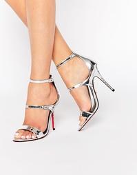Сандалии на каблуке из серебристой кожи с ремешками Carvela Giddy