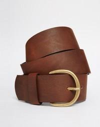 Широкий кожаный ремень Vero Moda - Коньячный