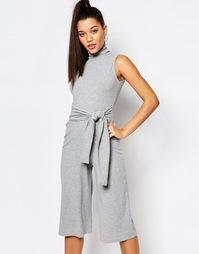 Комбинезон с юбкой‑шортами и завязкой спереди Missguided - Серый