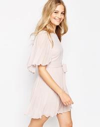 Плиссированное платье мини с короткими рукавами-бабочка ASOS