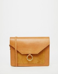 Винтажная кожаная сумка через плечо с металлическим кольцом ASOS