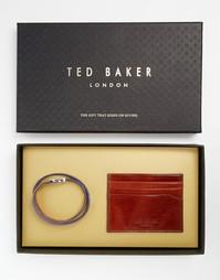 Кожаный набор из визитницы и браслета Ted Baker - Коричневый