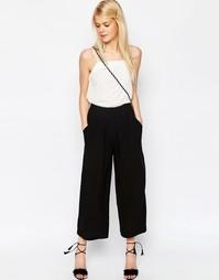 Тканая юбка-брюки со складками спереди ASOS - Черный