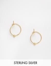 Серьги-кольца 9 мм из позолоченного серебра с бисером ASOS - Золотой