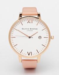 Большие часы с розовым кожаным ремешком Olivia Burthon Timeless