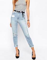 Синие рваные джинсы слим в винтажном стиле ASOS FARLEIGH - Синий
