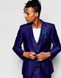 Фактурный синий пиджак слим Rudie - Синий