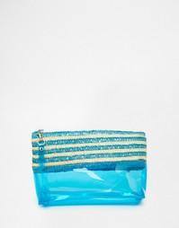 Клатч со вставкой из плетеной соломки Carpisa - Бирюзовый