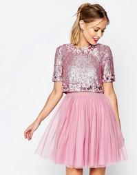 Сетчатое платье мини с укороченным блестящим топом ASOS SALON