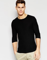 Черная трикотажная футболка с рукавами 3/4 ASOS - Черный