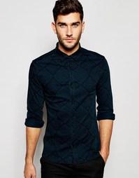 Джинсовая рубашка скинни с платочным принтом и длинными рукавами ASOS