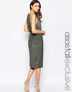 Декорированное платье миди с драпировкой на спине ASOS TALL - Хаки