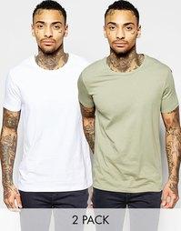 Белая и светло-зеленая рубашка с круглым вырезом ASOS - СКИДКА 17%