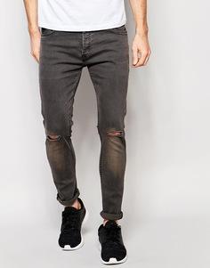 Темно-серые джинсы скинни с рваными коленками Brave Soul - Серый