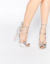 Туфли на каблуке с открытым носком и шнуровкой Boohoo - Серебряный