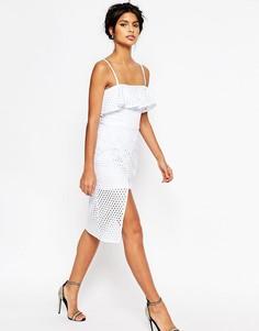 Платье-футляр миди с оборками на топе ASOS - Белый