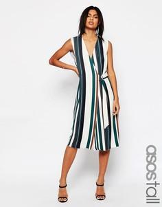 Мягкое платье в полоску с запахом и D-кольцом ASOS TALL - Мульти