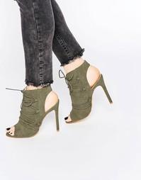 Ботильоны на каблуке со шнуровкой Boohoo - Хаки