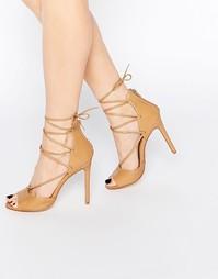 Туфли на каблуке с открытым носком и шнуровкой Boohoo - Телесный